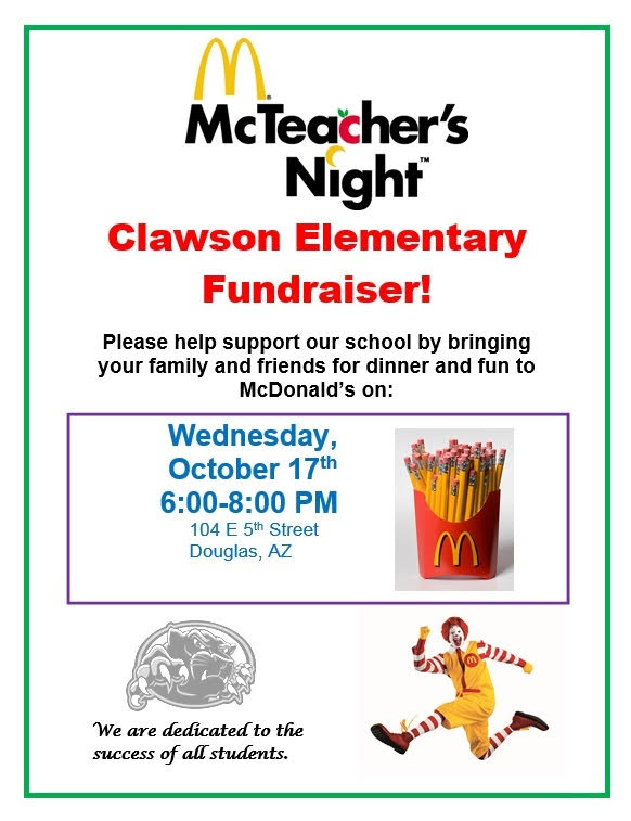 Clawson McTeather's Night Wednesday October 17th 6:00-8:00 PM