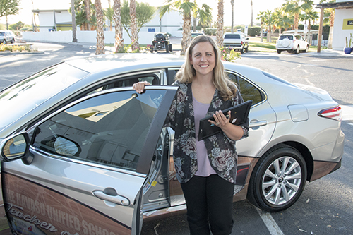 Smith with her new car