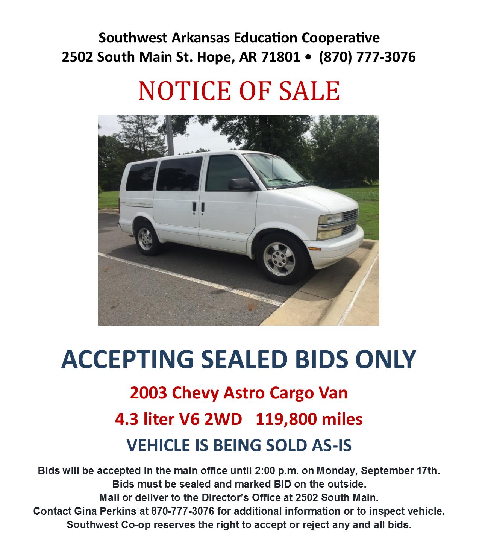 Southwest Arkansas Ed Coop For Sale 2003 Chevy Astro Cargo Van