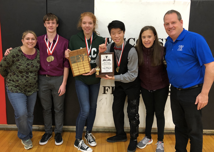 Picture of a group with a trophy for 2018 Academic Bowl Team GPSD Championship