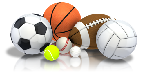 balls of soccer, basketball, football, volleyball, tennis, baseball, and golf