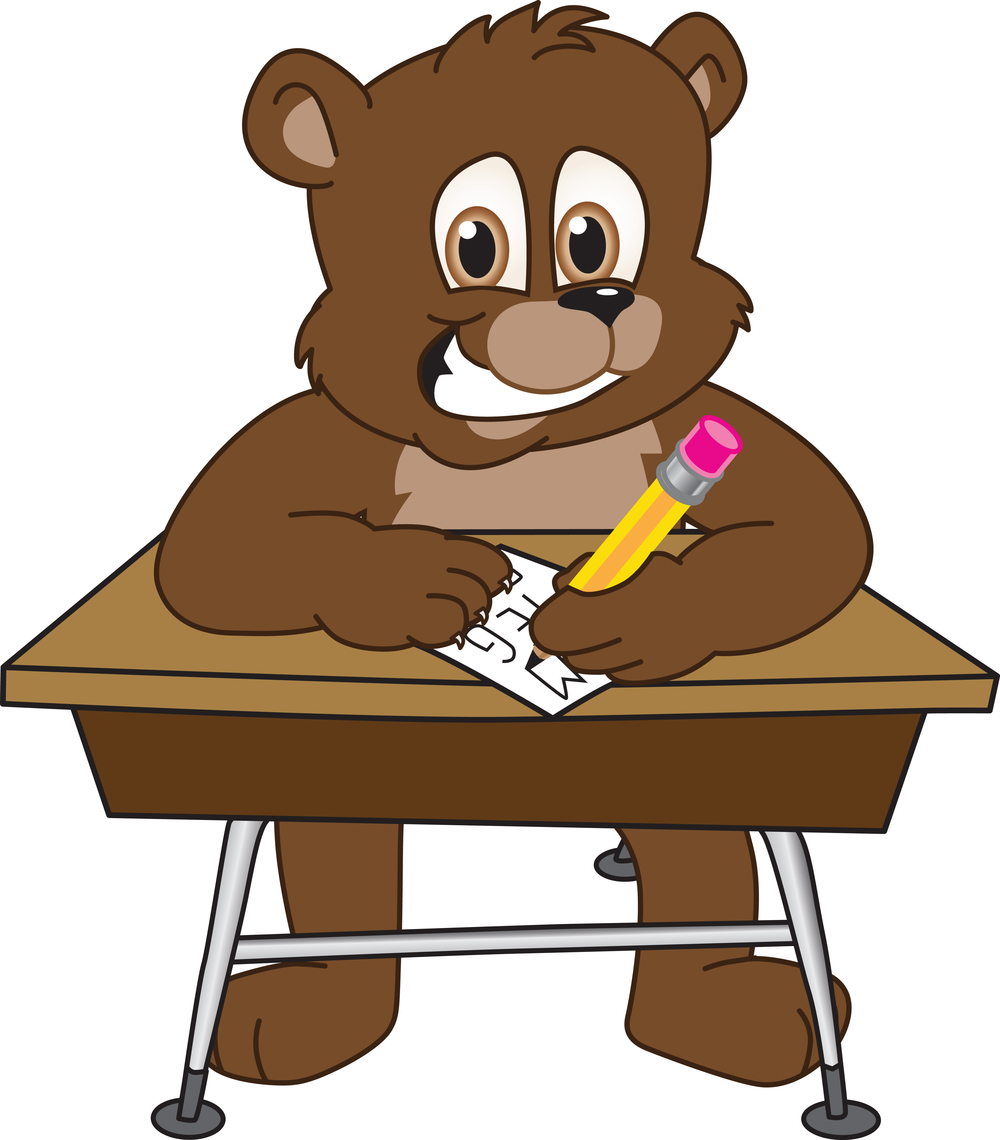 Bear with desk