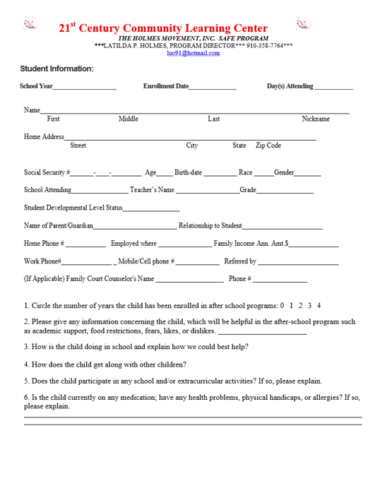 Application for the Holmes Movement