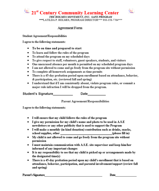 Holmes movement agreement form