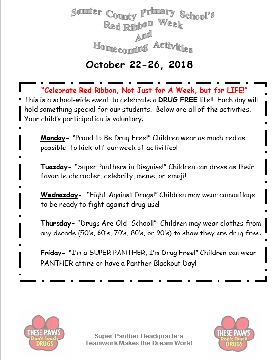 Red Ribbon and Homecoming Activities Flyer