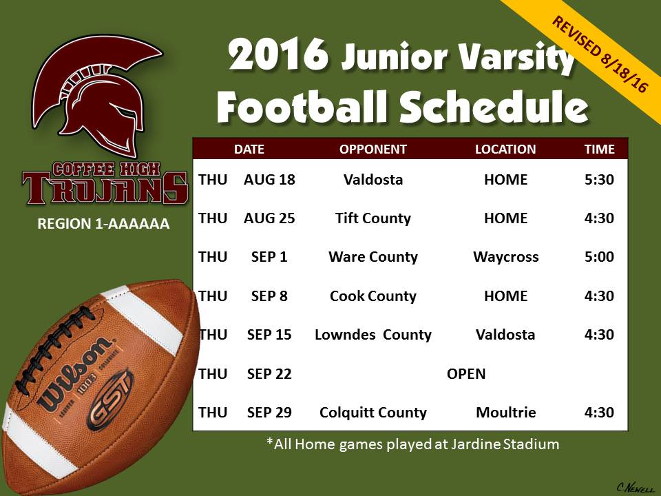 2016 CHS JV Football Schedule