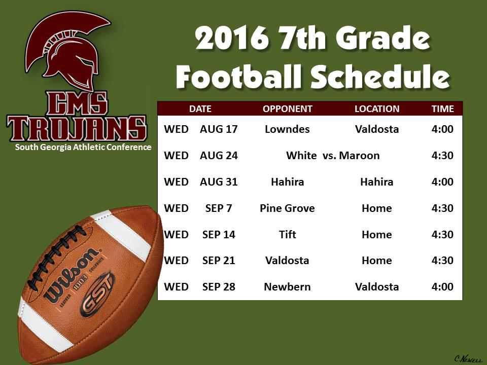 2016 CMS 7th Grade Football Schedule