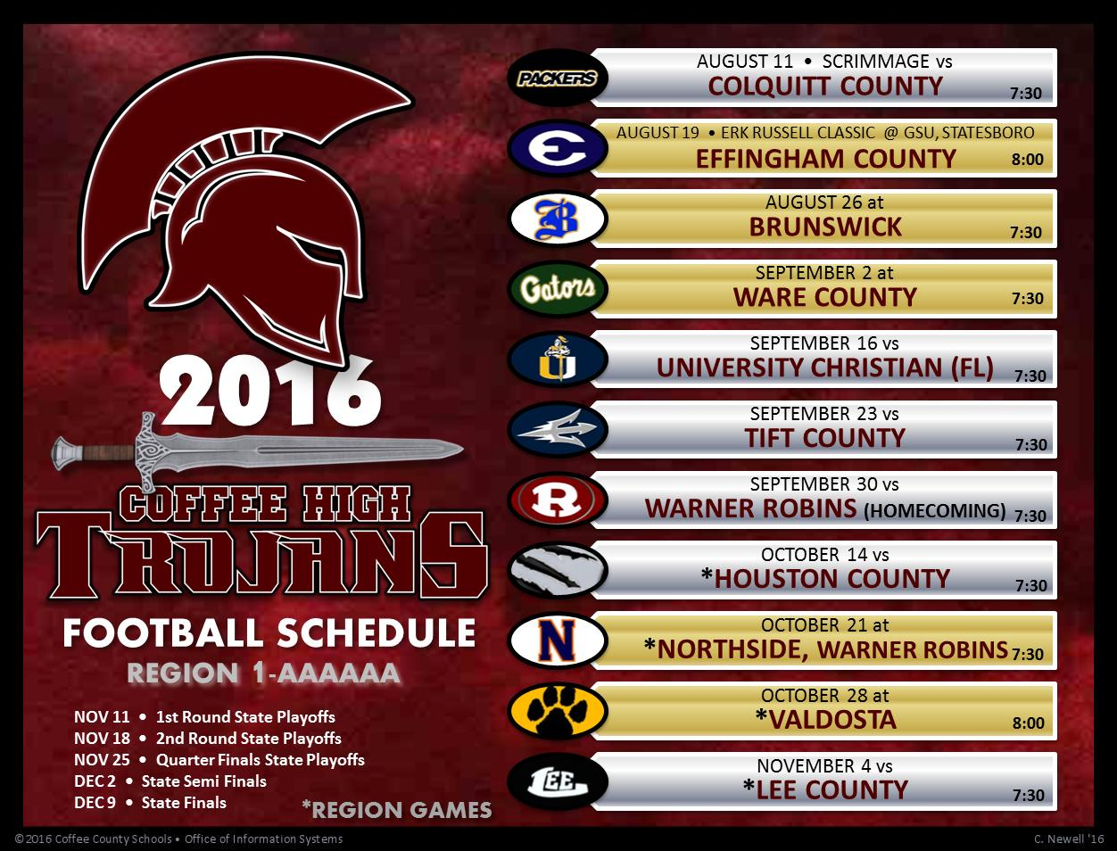2016 CHS Varsity Football Schedule