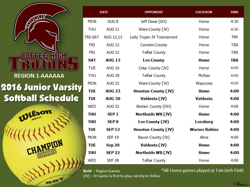 2016 CHS JV Softball Schedule