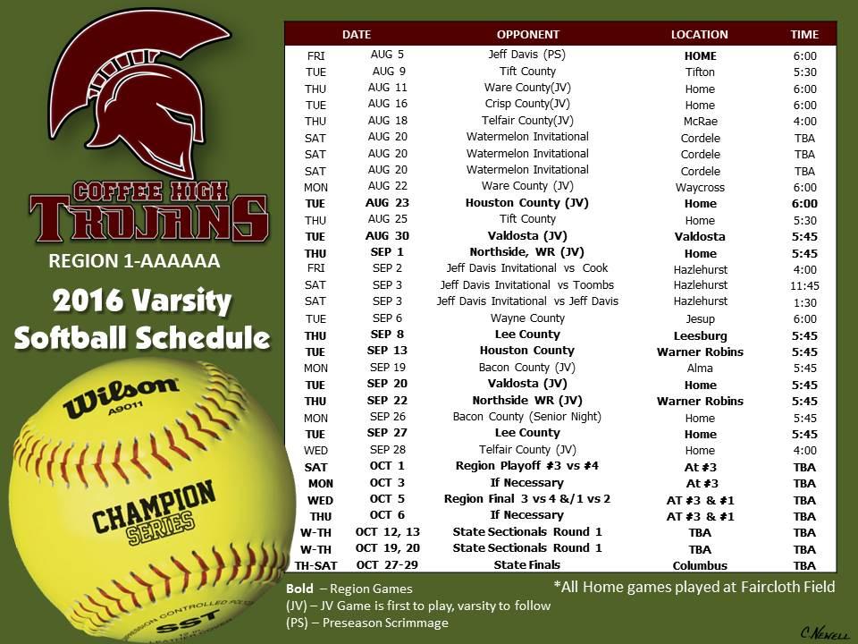 2016 CHS Varsity Softball Schedule