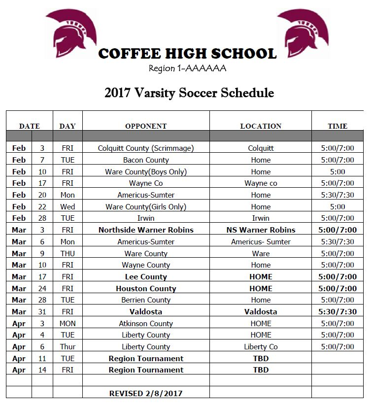 Houston County School Calendar.Chs Soccer Coffee County School System