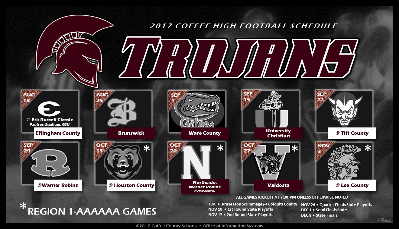CHS Trojan Football Schedule - 2017