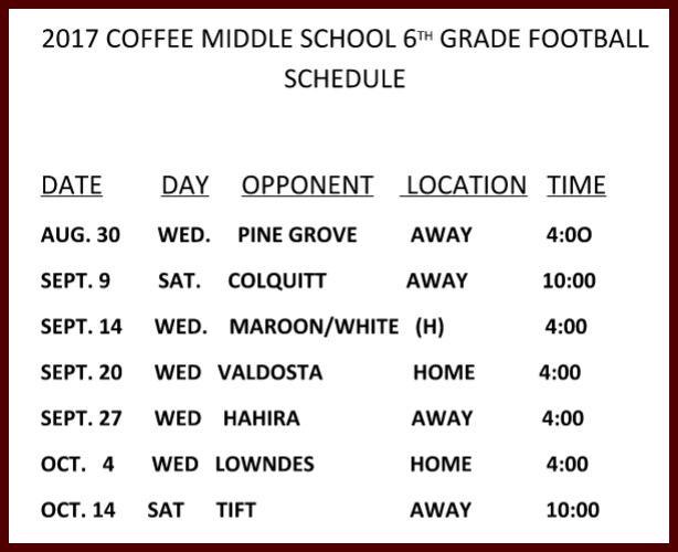 CMS Football 2017 - 6th Grade