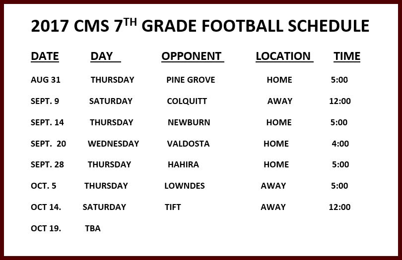 CMS Football 2017 - 7th Grade