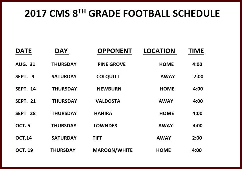 CMS Football 2017 - 8th Grade