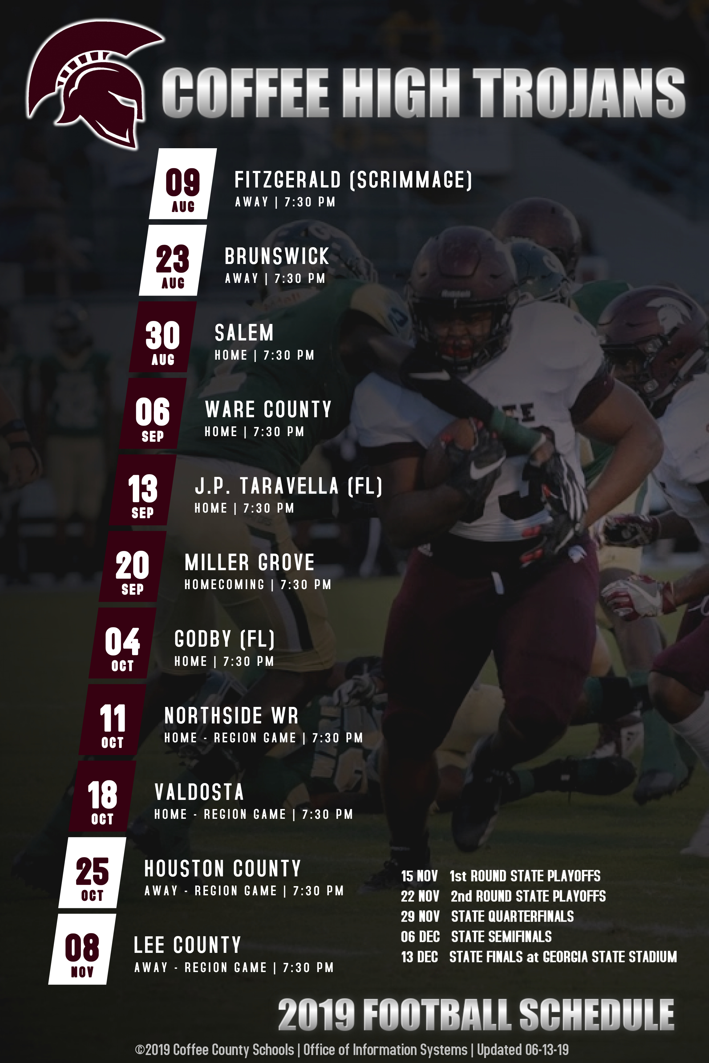 2019 Coffee High Trojans Varsity Football Schedule
