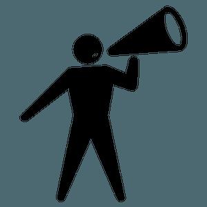Icon of figure holding megaphone