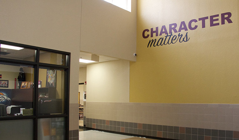 """hallway with motto """"character matters"""""""