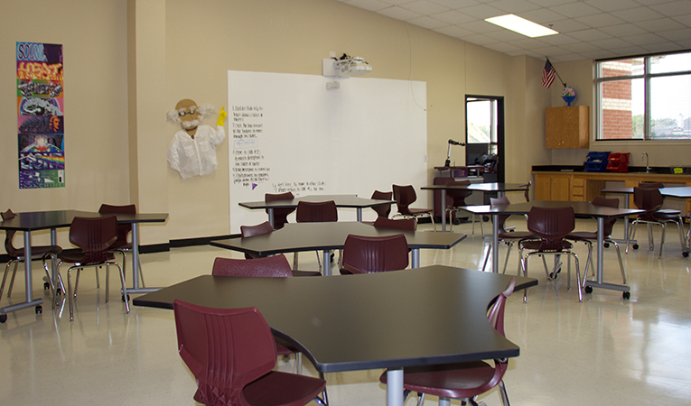 science lab with new 21st century projector