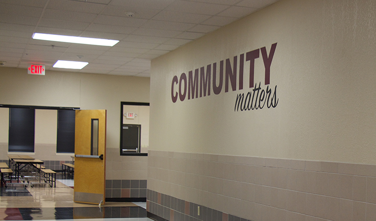 """hallway with motto """"community matters"""""""