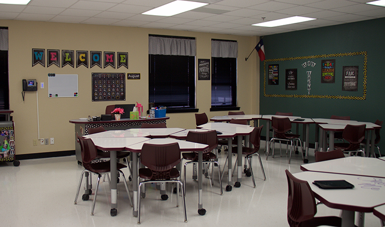 typical classroom showing portable desks that can be arranged in multiple settings