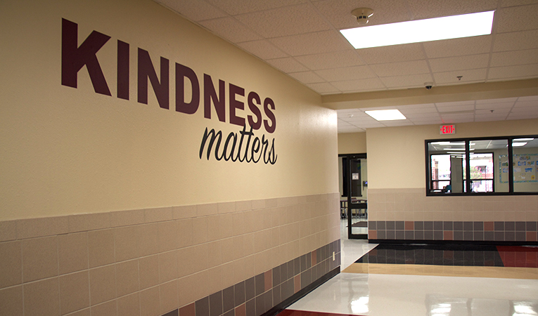 """hallway with motto """"kindness matters"""""""
