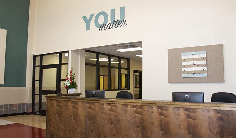 reception area of campus