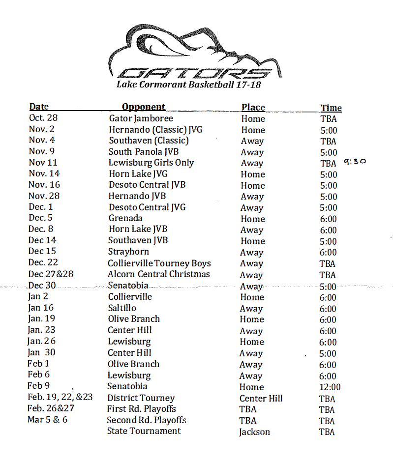 Gator BB Schedule