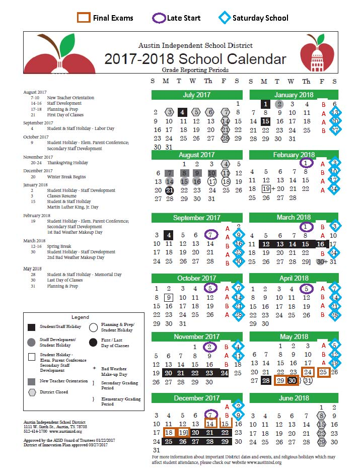 District Calendar with other dates
