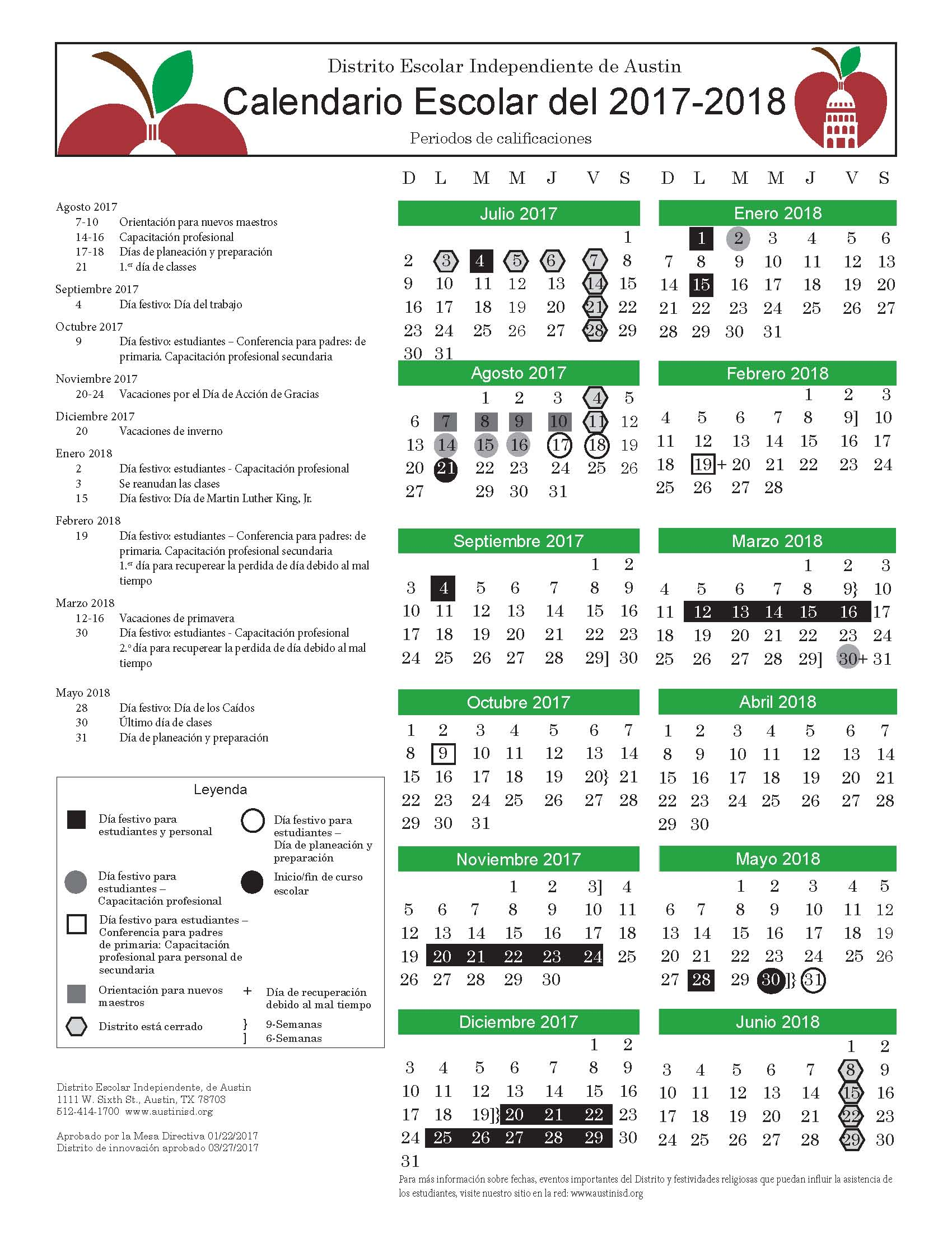 District Calendar in Spanish