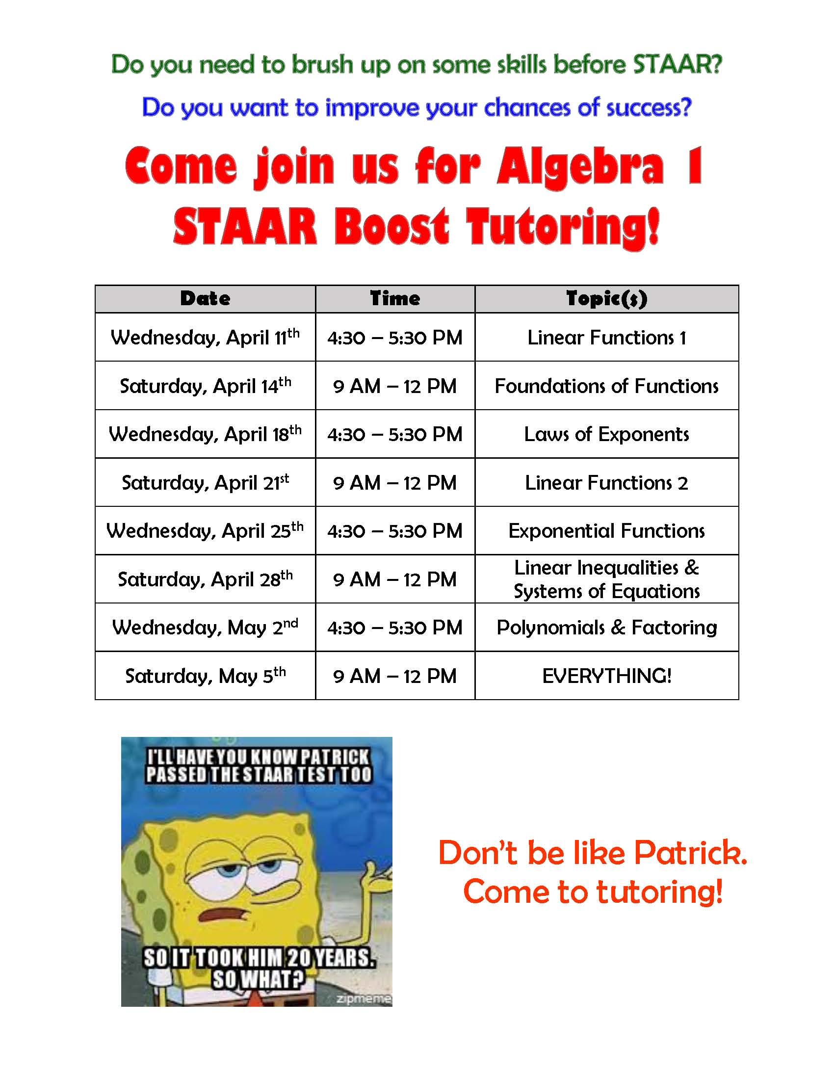 algebra 1 staar activities