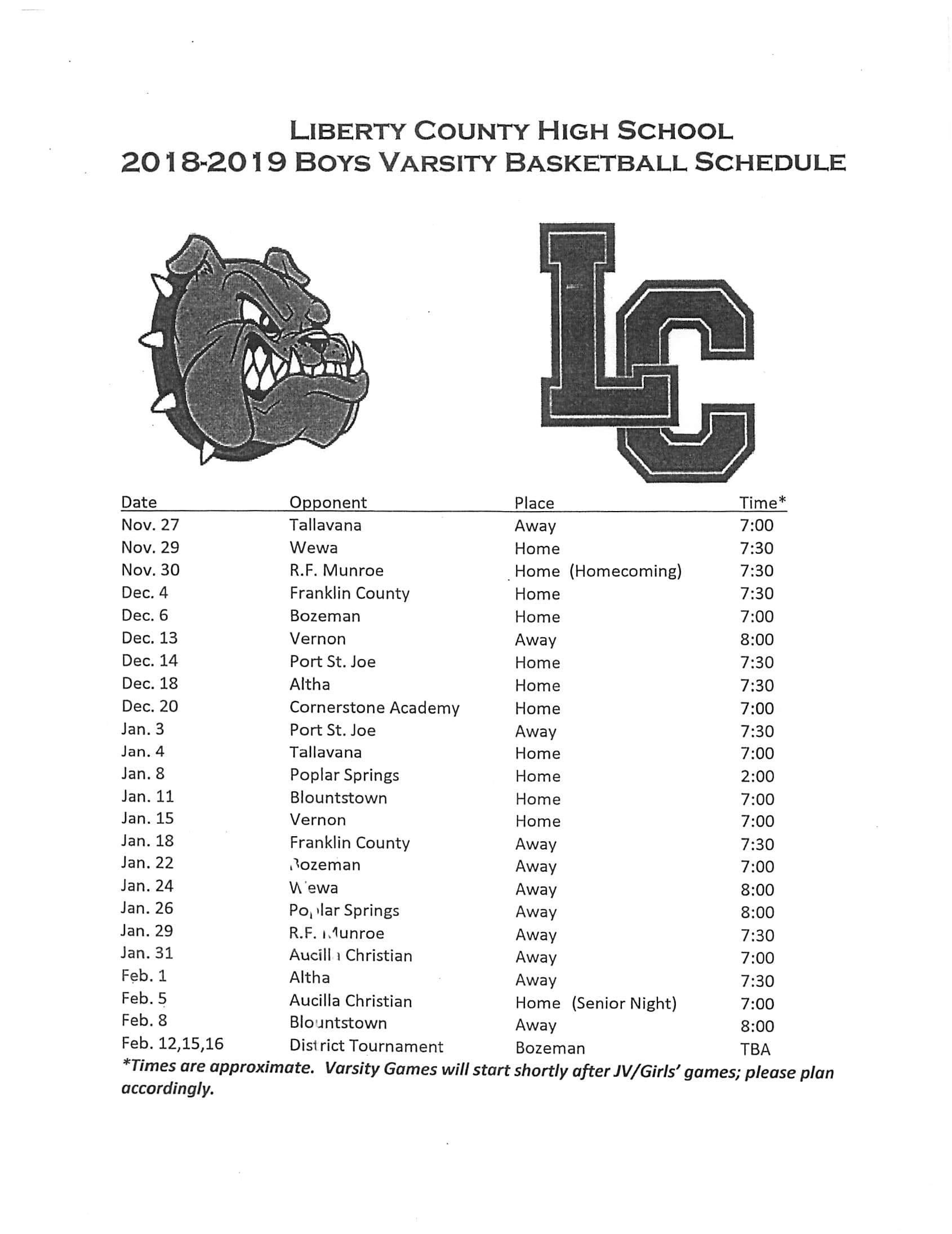 2018-2019 Boys Varsity Basketball Schedule