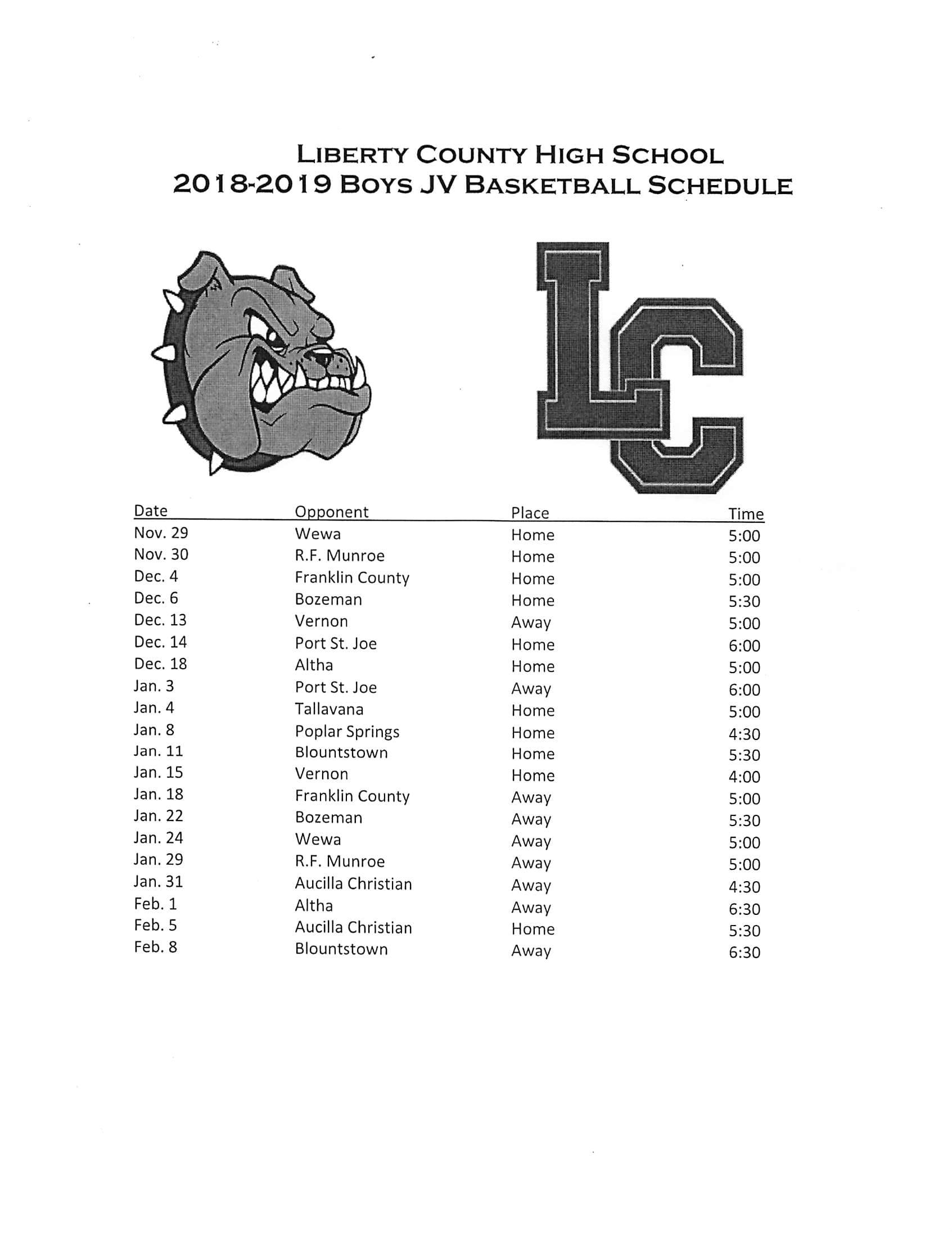 2018-2019 Boys JV Basketball Schedule