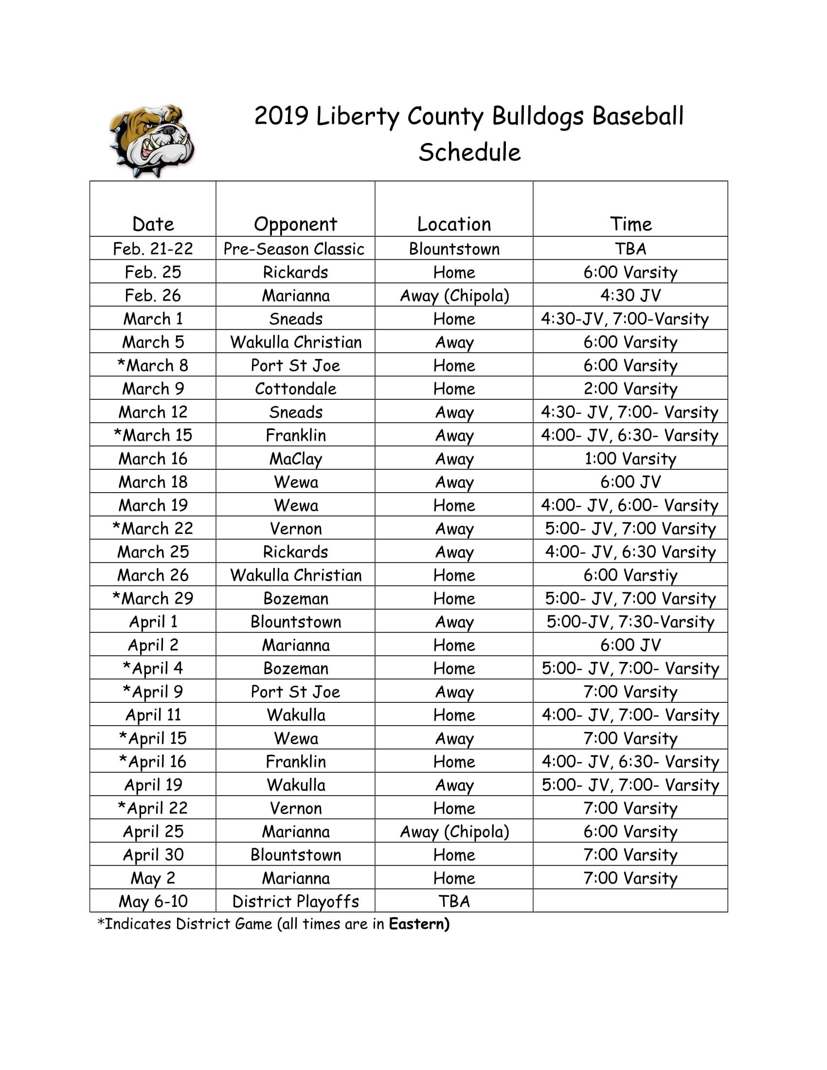 2019 Baseball Schedule