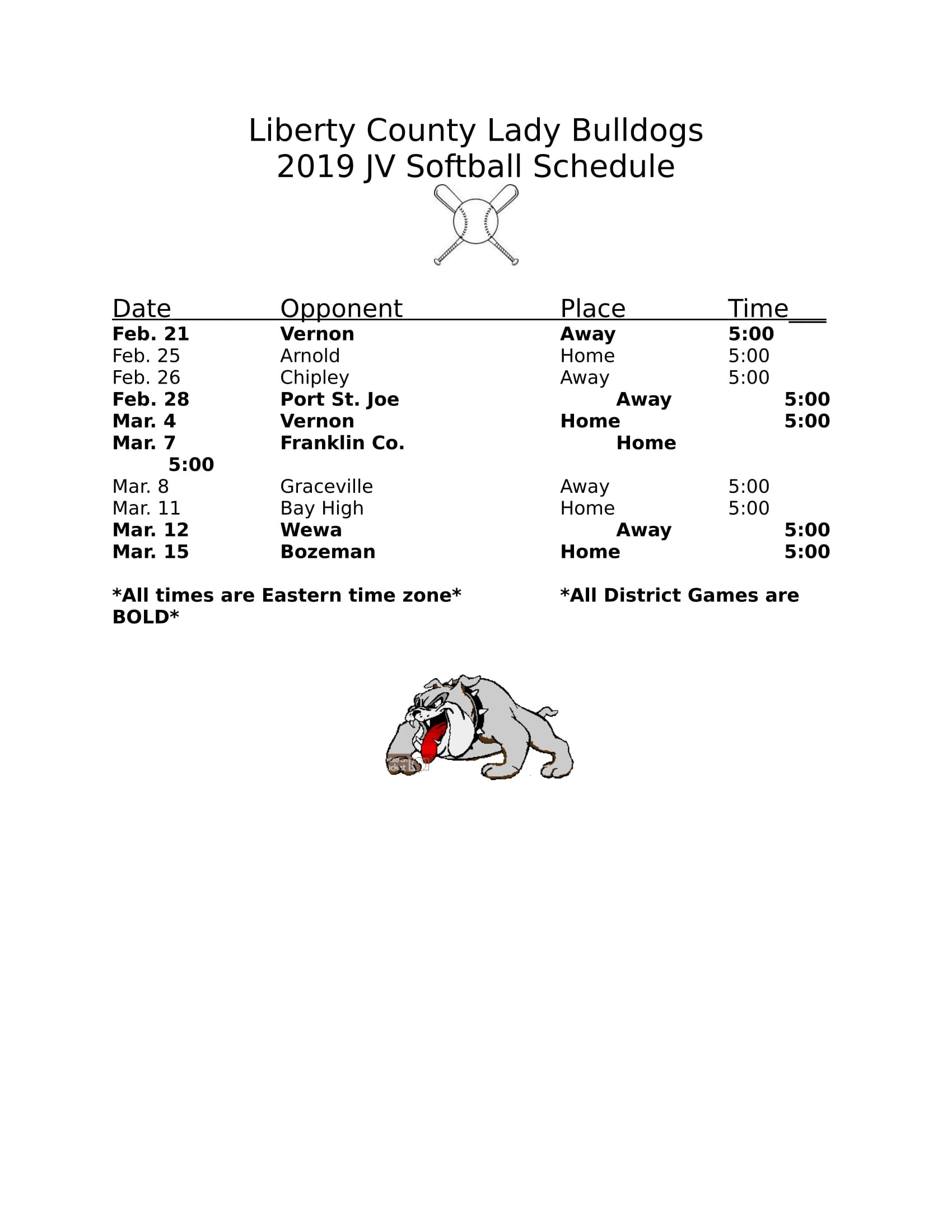 2019 JV Softball Schedule