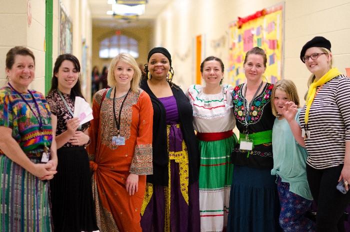 Teachers dressed up in cultural attire!