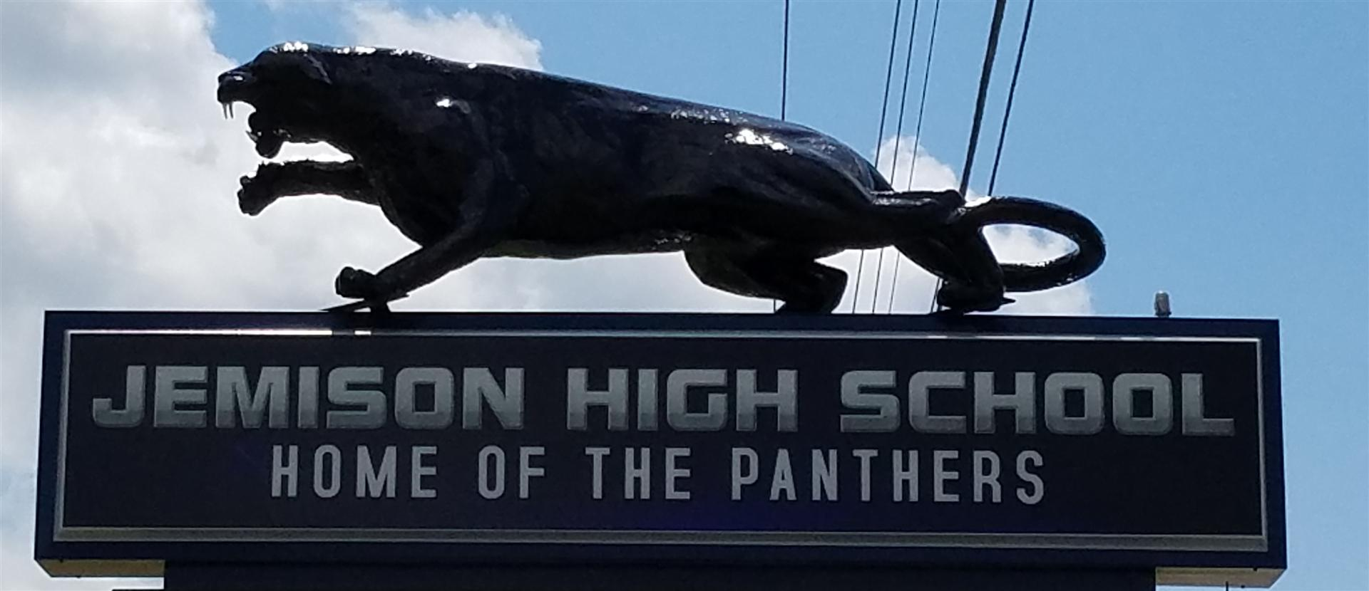 Jemison High School Sign with Panther statue