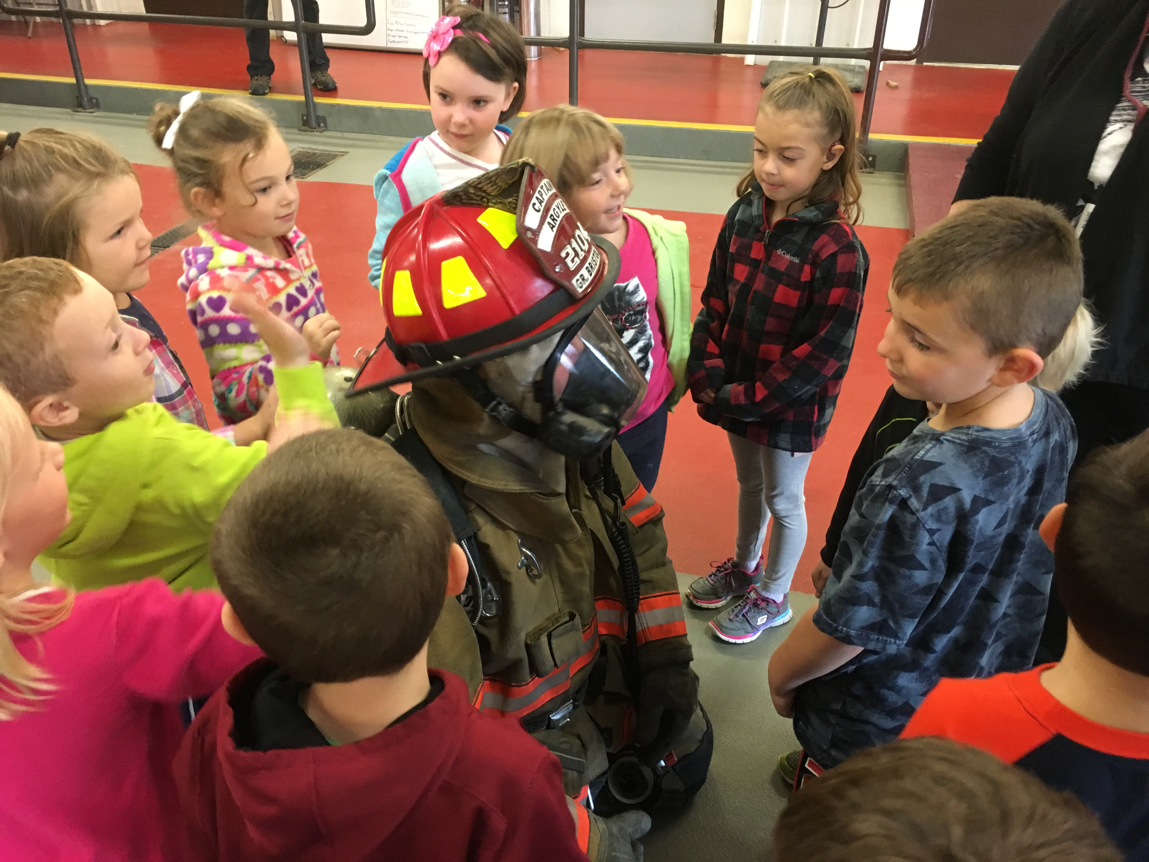 Students see Chief Bristol in his gear