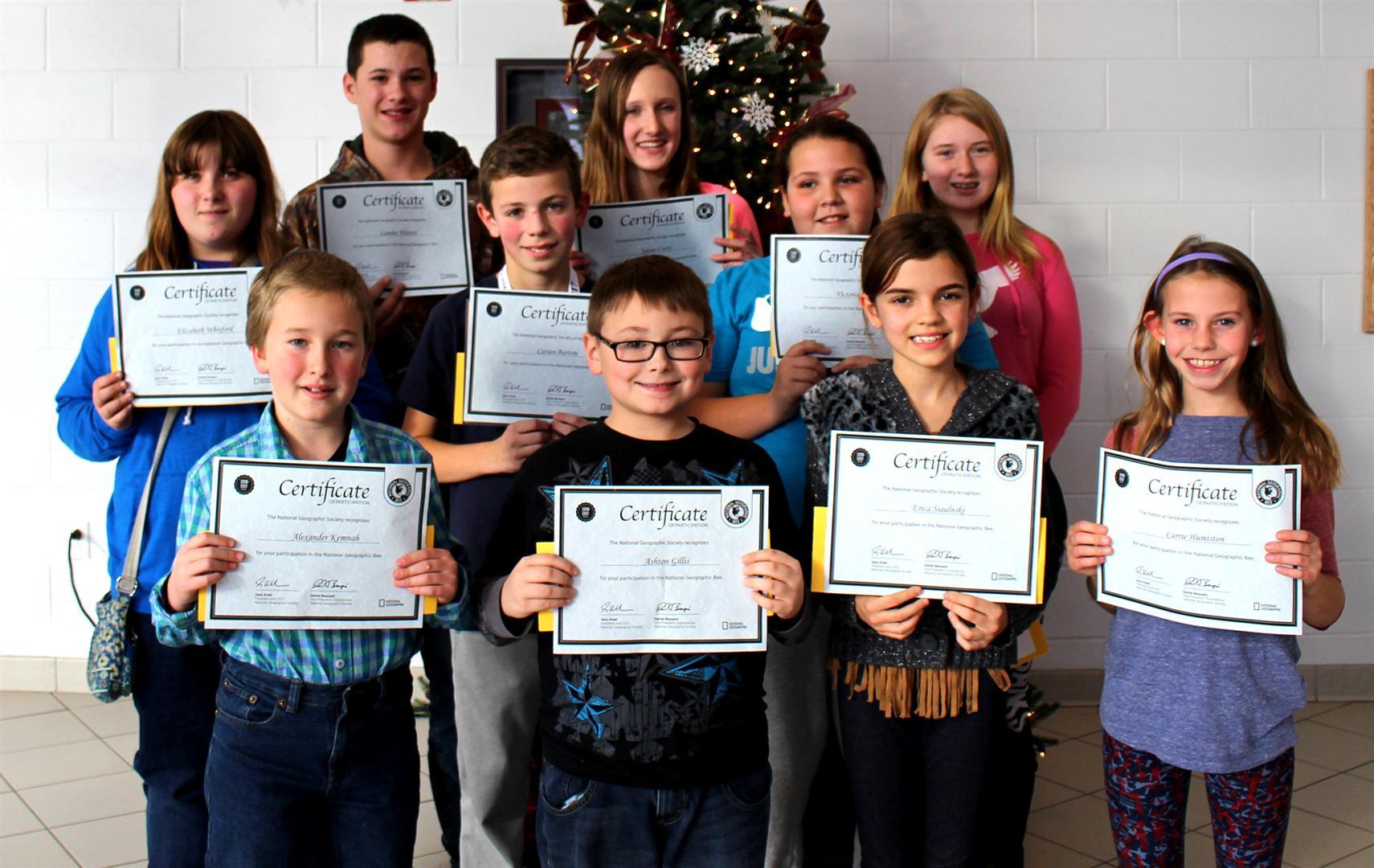 Geography Bee Classroom Winners
