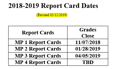 2018-2019 Report Card Dates Revised 02/12/2019