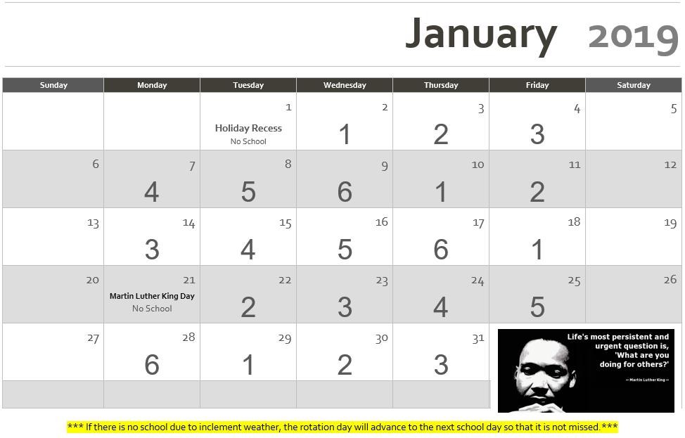 Rotation Calendar January 2019