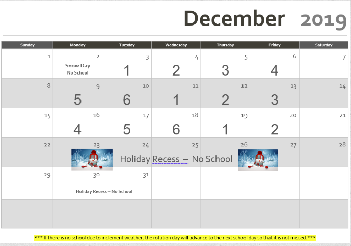 Rotation Calendar December 2019 Revised 12/02/2019