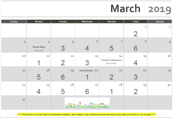 Rotation Calendar March 2019 Revised 03/05/2019