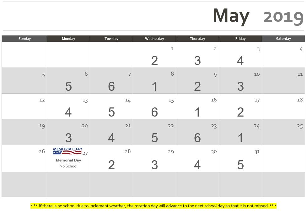 Rotation Calendar May 2019