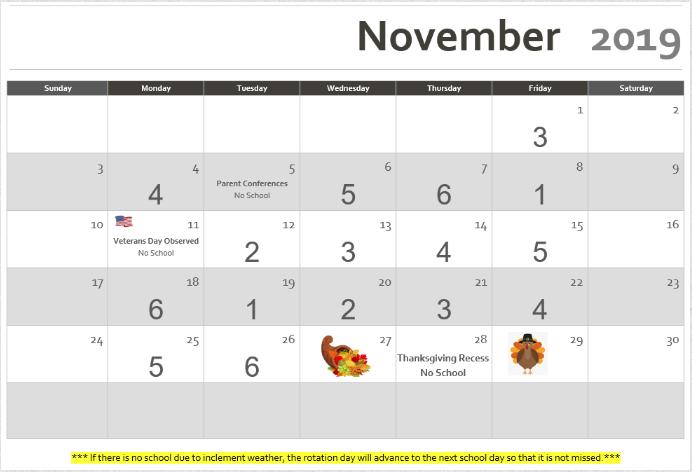 Rotation Calendar November 2019