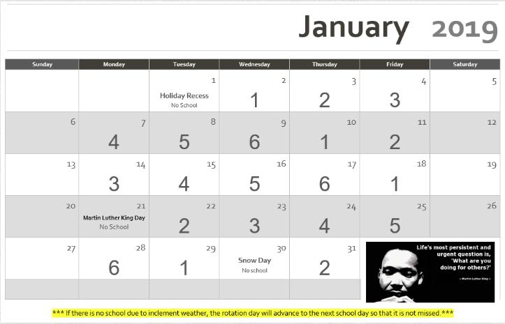 January 2019 Rotation Calendar