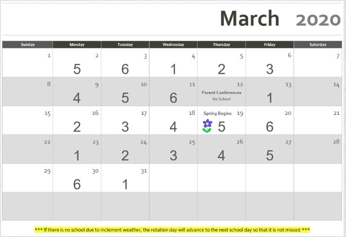 march 2020 rotation calendar