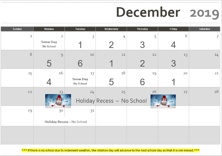 Rotation Calendar December 2019 Revised 12/18/2019