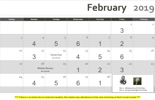 February 2019 Rotation Calendar Revised February 2019 13