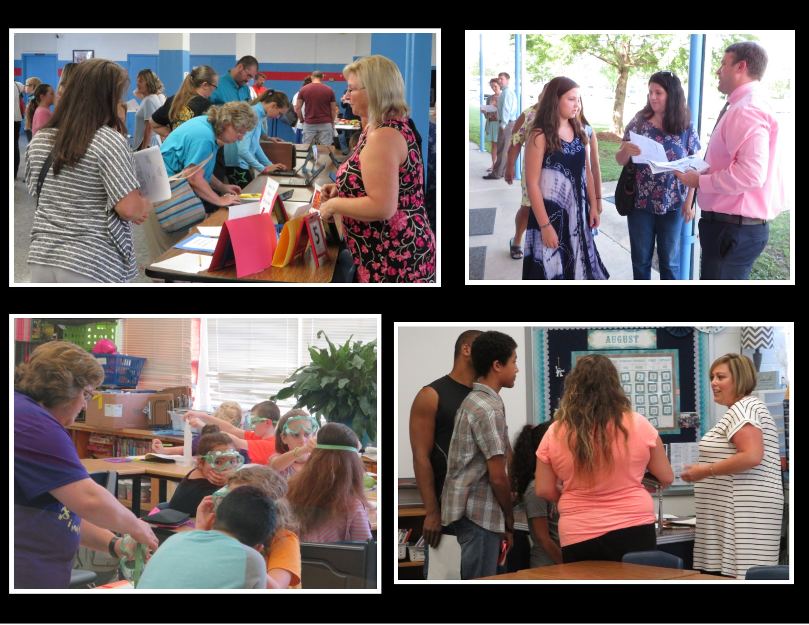 collage of photos from august showing students parents and staff at open house and during the first days of schcool